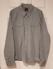 Men's Hollister Blue Western Style Checked Plaid Pattern Shirt - Size XL