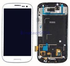Weiß LCD Display Touchscreen Scheibe Glas Rahmen Für Samsung Galaxy S3 i9300 Neu