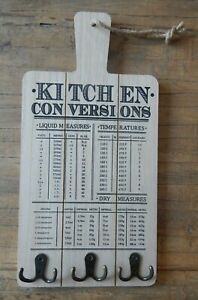 KITCHEN CONVERSIONS RUSTIC WOOD STYLE SIGN WITH KEY UTENSIL HOOKS UK SELLER