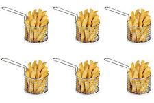 6pcs Chips Chip  Chrome Basket Server Food Serving Side Dishes Party Pub Food