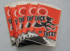 "( 14 ) 1950's Halloween Trick Or Treat Paper Bags 3 3/4"" x 6 7/8"" Witch Moon"