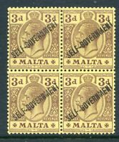 Malta 1922 Self-Govt. 3d mint block 4 with ovpt. damaged  ovpt. (2019/06/05#08