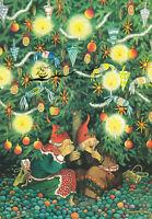 Postkarte: Inge Löök - Frauen als Zwerge unterm Weihnachtsbaum  /  Nr. 45