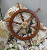 Schiffssteuerrad Maritim Boot Steuerrad Piraten Schiffsrad Holz Messing 62 cm