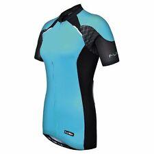 NWT Funkier Women's Cycling Full Zip Jersey Short Sleeve Shirt, Light Blue, XS