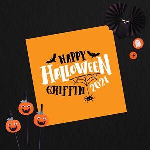 "Personalised Halloween Card 6x6"" Linen Card 1st Halloween Happy Halloween"