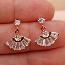 18K Gold Filled - Noble Fans Style Geometric Topaz Zircon WeddinStud Earrings SW
