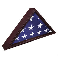 5'x9' Memorial Flag Display Case Veteran Commemorative Shadow Box Cherry Finish