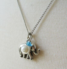 White Pearl and Elephant Charm with 18 inch Silver Tone Curb Chain Necklace