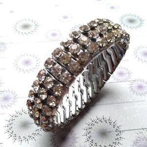 Vintage Empire Made Silver Tone Three Row Clear Diamante Crystal Stretch Bangle
