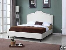 BEIGE Fabric Cloth KING Scalloped Platform Bed Frame & Slats Modern Home Bedroom