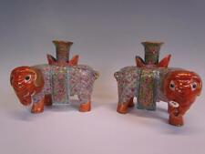 ANTIQUE PAIR OF CHINESE CANTON ROSE MANDARIN FIGURAL ELEPHANT CANDLESTICKS