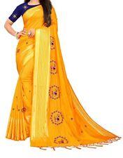 New Indian Women's Banarasi Silk Saree Sari Unstitched Blouse Piece Yellow color