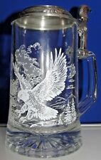 Domex Pewter Top Glass Beer Stein With Bald Eagle Design