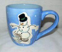 Kane Home 13 oz. Ceramic Blue Background Winter Dancing Snowman Top Hat Mug Cup