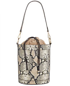 INC International Concepts Women Snake Drawstring Bucket Bag Beige One Size