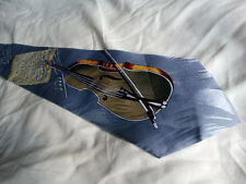 VIOLIN GENTS TIE 100% SILK HANDMADE IDEAL FOR MUSICIAN  VIOLIN  VERY COLOURFUL -