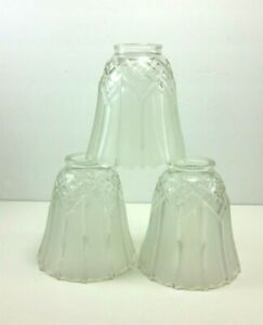 Lot Of Three Replacement Frosted Glass Light Shades Globes Diamond Pattern