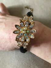 Gold Tone Rhinestone Flower and Butterfly with Black Braided Bracelet #510