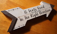 FEELS GOOD TO BE LOST IN THE RIGHT DIRECTION Cabin Lodge Decor Arrow Sign NEW