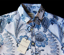 Men's MURANO White Blue Paisley Floral Shirt S Small NEW NWT Nice!