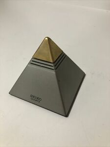 Vintage Seiko Chinon Pyramid Talking Clock Gold/Chrome Tested Working