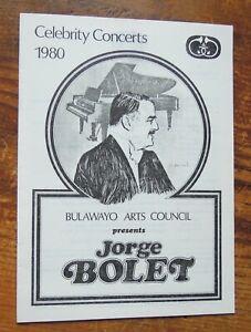 """JORGE BOLET """"LISZT PROGAMME"""" BULAWAYO  Robert Simpson Hall (1980)"""