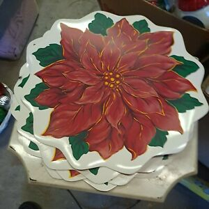 4 Vintage Vinyl Christmas Placemats Poinsettias TC from the 80's.  Very Nice!!