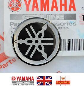 YAMAHA GENUINE 25mm TUNING FORK BLACK & SILVER GEL DECAL STICKER BADGE *UK STOCK