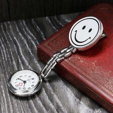 Vintage Silver Nurse Doctor Smile Brooch Necklace Chain Quartz Pocket Watch Gift