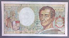 BILLET Rare fauté!!! 200 francs MONTESQUIEU - 1987*