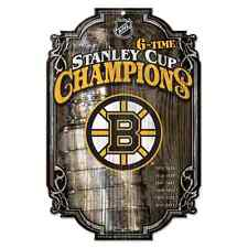 """BOSTON BRUINS 6 TIME STANLEY CUP CHAMPS WOOD SIGN 11""""X17'' BRAND NEW WINCRAFT"""