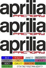 KIT 3 ADESIVI APRILIA FACTORY INTAGLIATI 18 X 6,5 CM AUTO MOTO STICKERS COD 33