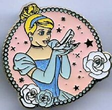 Disney Cinderella in Circle Frame with Rose Border Holding her Glass Slipper pin