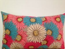 Daisy Pink Blue Peach Skin Outdoor Indoor  floral Lumbar Retro Cushion Cover