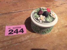 Flowered Trinket Pot. Hand cast Designs Limited UK. Raspberries & Blossom