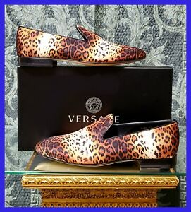NEW VERSACE LEOPARD LOAFER SHOES 45 - 12