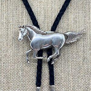 Vintage Navajo Glenn & Irene Sandoval .925 Sterling Running Wild Horse Bolo Tie