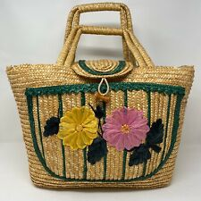 Vintage Extra Large Straw Two Handled Tote Beach Bag Yellow Pink Floral Trim