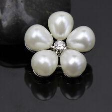 5PCS Clear Rhinestone Fuax Pearl Shank Buttons Silver Tone Sewing DIY Craft
