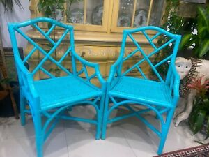 2 VTG FAUX BAMBOO CHINOISERIE HOLLYWOOD REGENCY CHINESE CHIPPENDALE ARMCHAIRS