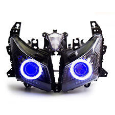 KT LED Angel Eye HID Headlight Assembly for Yamaha Tmax530 2012 2013 2014 Blue
