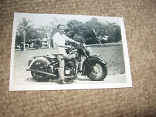 Man on vintage motorcycle photo 4x6 biker harley