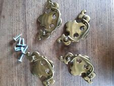 4 Vintage Antique Style Brass Drop Drawer Handles