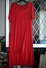 *Gudrun Sjoden* China red tiered lagenlook maxi dress M 38""