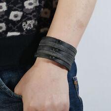 Vintage Men Wide Leather Wristband Clasp Cuff Punk Unisex Bracelet Bangle Wraps