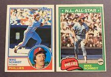 Mike Schmidt 1981 Topps #300 & 1983 Topps #540 Philadelphia Phillies HOF