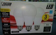 Feit Electric Enhance LED Light Bulbs 3 Pack 60 Watt Equivalent A19 non Dimmable