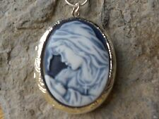 *VIRGIN MARY & BABY JESUS (MOTHER/BABY) CAMEO (hand painted) LOCKET-MOTHER  MARY