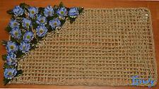 ZERBINO INGRESSO TAPPETO Rettangolare DECORATO fiori blu IDEA REGALO  corda
